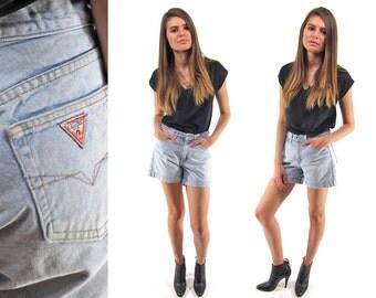 Vintage 90s Guess Cut Off Shorts, Short Shorts, Light Blue Denim Shorts, Mid-Rise, Jean Shorts Δ size: sm / 27 waist