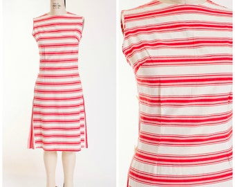 Vintage 50s Sheath Dress in Red White Striped Cotton 1950s Vintage Day Dress Nautical Novelty Print by Carol Brent Size Medium