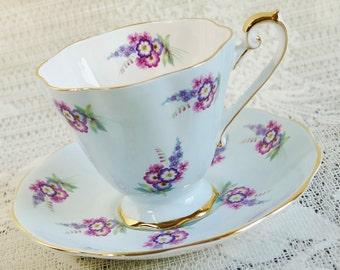 Royal Standard Pastel Blue Cup and Saucer, Vintage Teacup, Cup and Saucer, English Teacup, Collectibles