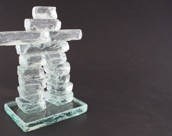 Inukshuk,glass Inukshuk clear glass,north symbol