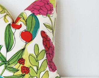 Watercolor Floral Pillow Cover, Floral Pillow, 18x18 Inch Pillow