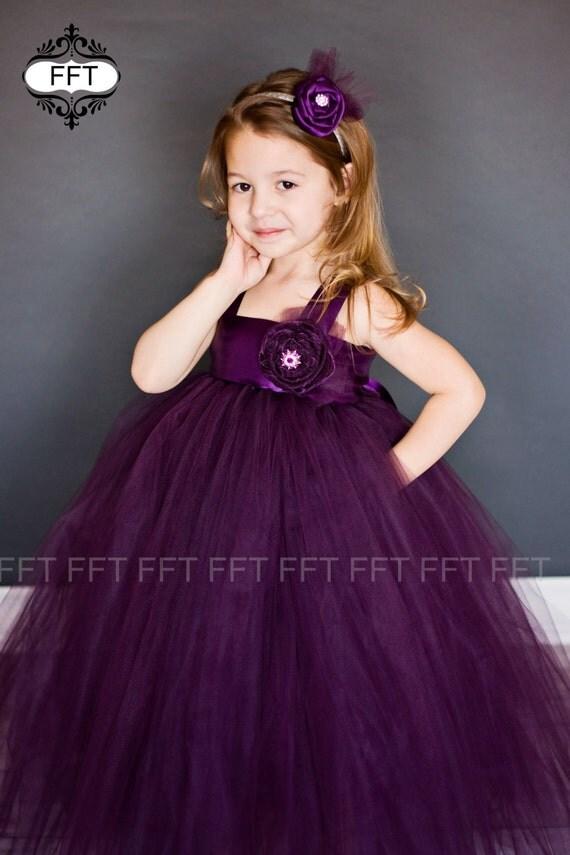 Plum Eggplant Flower Girl Tutu Dress