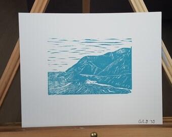 Big Sur Linocut Print Number 1 of 2