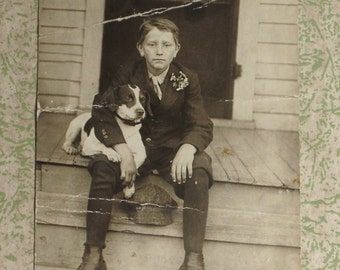 Early Black & White Photo Boy with his dog