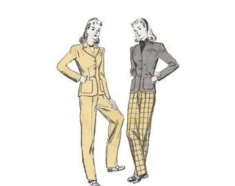 1940s Womens Tailored Jacket and Tapered Pants Sewing Pattern Butterick 2901 2 Piece Slack Suit Size 14 Bust 32