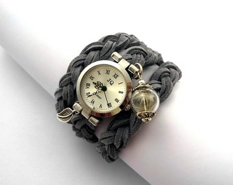 Real Dandelion Suede Wrap Watch. Silvergrey. CUSTOMIZED to your size. Watch for her.