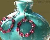 Dangle Loop Handmade Wreath Earrings, handmade Sterling Silver hooks ,Flower Garland Red Mulberries Swarovski TEMPT WLV