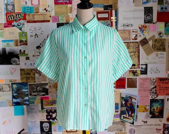 1970s mint stripe shirt
