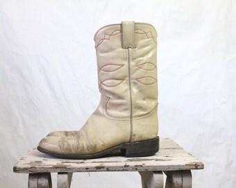 Vintage Rustic Beige Leather Cowboy Boots Sz 7