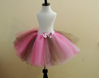 girls pink camo tutu tulle skirt pink brown camo tutu camo birthday outfit country girl skirt cottage chic country redneck tutu
