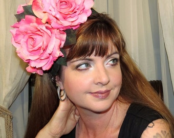 PINK POUT Perfect Pink Roses Floral Headdress Hair Adornment ooak