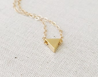 Tiny Gold Triangle Necklace, 14k Gold Filled Necklace, Simple Everyday Necklace, Dainty Jewelry, Birthday Gift,