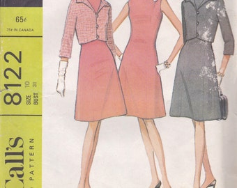 1960s Dress & Jacket Pattern McCalls 8122 Size 10 Uncut