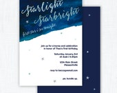 "Star Party Watercolor Invitation Printable ""Starlight Starbright"""