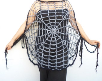 Halloween Clothing Women Spider Web Poncho One Size Spider web Halloween Costume Crochet Mesh Poncho Goth Grunge