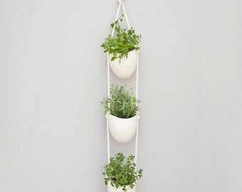 3 tier porcelain and cotton rope planter