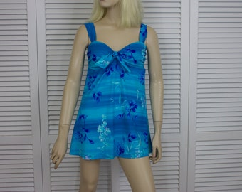 Vintage Swimsuit w Skirt Turquoise 1980s Mainstream Size 14