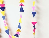 neon pink, navy blue and yellow triangle garland -8 feet