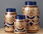 Mason Jar Decor- Three Bohemian Style Mason Jars, Cobalt Blue Glass with Detailing in Copper, Gold, and Cream