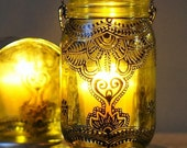 Bohemian Style Outdoor Mason Jar Candle Holder, With Dandelion Yellow Glass and Black Accents, Eclectic Outdoor Decor