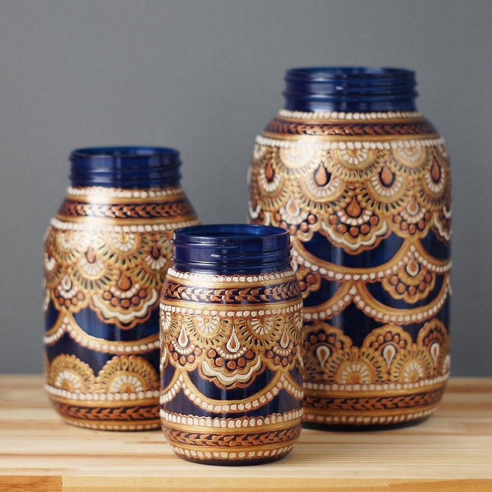Mason jar decor three bohemian style mason jars cobalt blue for Decorative items