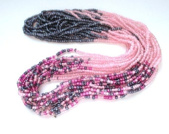 RESERVED for GINA Tiny Seed Beads, Size 15 - 16 Seed Beads, Fuchsia Pink, Gray, Lavender, Ombre Jewelry Making Seedbeads SP344