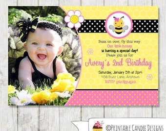 Pink Bumble Bee Birthday Invitation - Bee Invitation - Bee Birthday - Bee 1st Birthday - Girl Bee Birthday - DIY Custom Printable