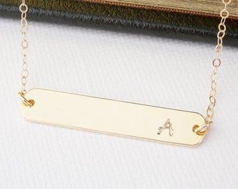 Gold Bar Necklace Gold Bar Initial Necklace, Personalized Necklace, Personalized Gold Bar Necklace, Gold Initial Necklace, Personalized Gift