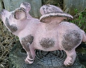 Large Cast Iron Pink Shabby Flying Pig