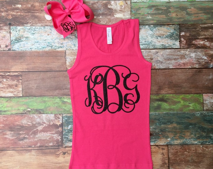 Monogrammed Tank Top & Hair Bow Set, Monogrammed Gifts, Monogram tank tops for girls, Monogrammed hair bows, Monogrammed gifts for girls