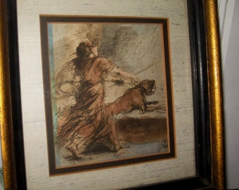 Vintage Firenze Roman Goddess with Dog Vintage Framed Italian Art -  Vintage Florence Dog Art -  Florence, Italy Woman with Dog