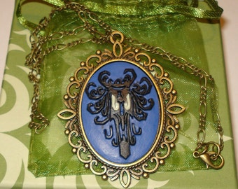 Cameo Necklace Victorian Disney Haunted Mansion Spooky Wallpaper Haunted Eyes Glow in the Dark