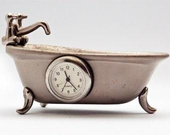 Collectible Clock, Kinky Miniature Bath Tub with Clock, Silver Tone Metal Bath Tub, Whimsical Miniature Clock Home / Office Decor