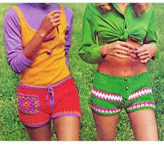 Free Crochet Pattern For Mens Shorts : Crochet Pattern Crochet Shorts PDF Pattern Hippie Retro