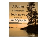 """FATHER'S DAY Quote Gift """"A Father is Someone you look up to no matter how tall you grow"""" Lake Tree Amberscape Landscape Dad Gift Wall Art"""