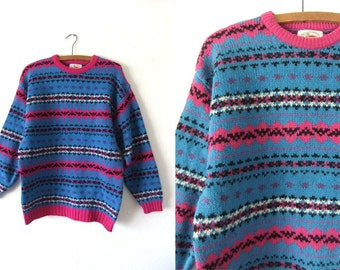 90s Bright Abstract Patterned Wool Sweater - Cerulean Blue Geometric Pattern Jumper - Womens size Large