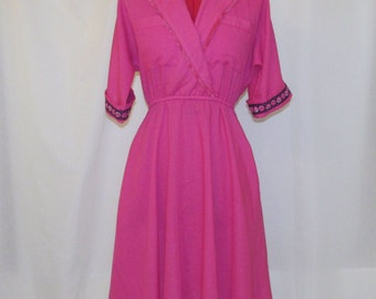 Upcycled Vintage Dress- Size 6 - One of a Kind - Hot Pink