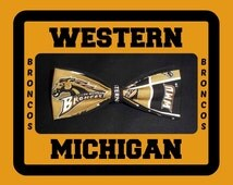 BowTie Made From Western Michigan University Fabric - This Bow Tie Sports the Brown and Gold of the Broncos, So Can You - U.S.SHIPPING 1.99