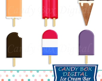 Ice Cream Bar and Popsicle Clipart, Summer Clip Art - Commercial Use OK