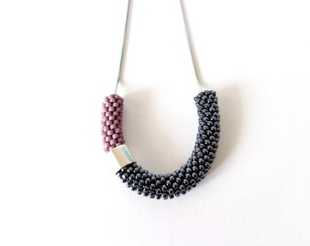 Minimalist necklace/Rope jewel/Steel Necklace/Lightweight Necklace/Everyday Jewel/Crocheted accessories/Color Block Jewelry