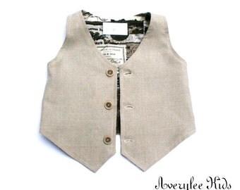 The Jordan Boys Tan Vest, Baby Boy Vest to Teen Vest, Toddler Boys Vest, Wedding Ring Bearer, Baptism, Pageboy Outfit