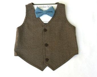 Our Keoni Boys Brown Tweed Vest, Brown Vest for Boy's, Baby Vest, Toddler Vest, Teen Vest, Wedding Ring Bearer, Vintage Wedding Vest