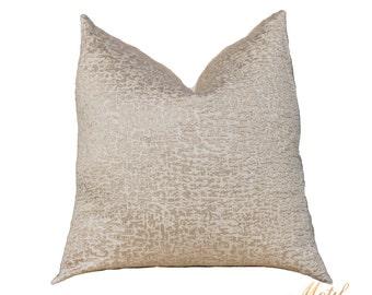 Sale - Gold Pillow - Metallic Pillow Cover -Throw Pillow Cover - Gold Beige Ivory Neutral Pillow - Designer Pillow Cover  - Motif Pillows
