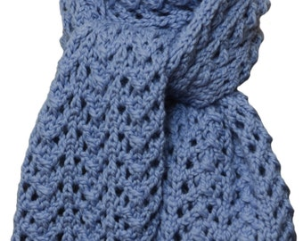 Hand Knit Scarf - Periwinkle Blue Alpaca Lace