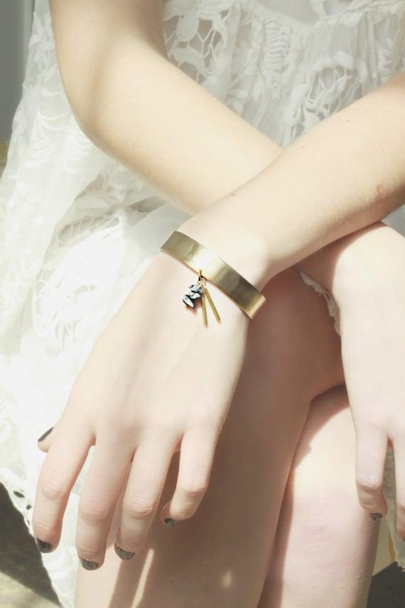 Brass and Hematite Cuff Bracelet - Tassel Bracelet - Handmade
