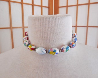 Vintage 40s Venetian Glass Bead Choker Necklace End Of The Day White Multi Color Glass Beads