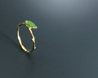 Branch ring Vermeil carved nephrite ring Nature jewelry Twig ring