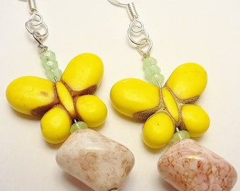 Sunny Yellow Dyed Turquoise Butterfly w/ Marbled Light Purple Glass Beads & Pale Green Crystal Earrings