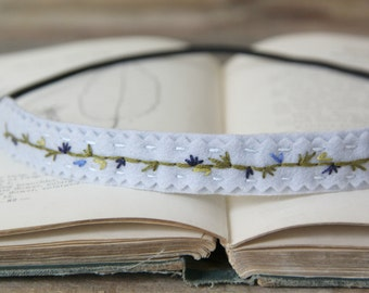 Embroidered Felt Headband / Boho Woodland Floral / Flower Crown / Ice Blue with Flowers