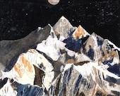 Kanchenjunga mountain art illustration A3 Print (11.69 in x 16.54 in)